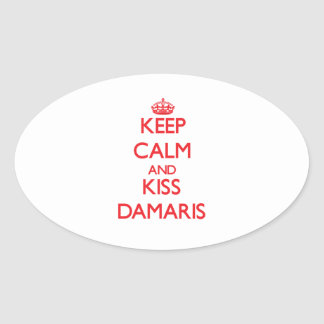 Keep Calm and Kiss Damaris Oval Sticker