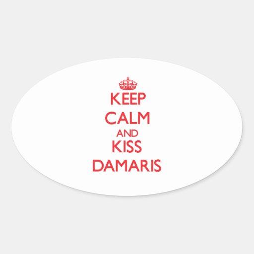 Keep Calm and Kiss Damaris Oval Sticker