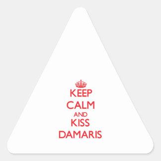 Keep Calm and kiss Damaris Triangle Sticker