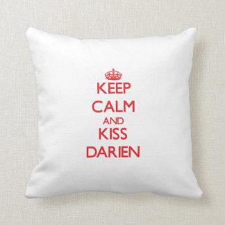 Keep Calm and Kiss Darien Throw Pillow