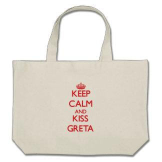 Keep Calm and kiss Greta Canvas Bags