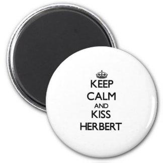 Keep Calm and Kiss Herbert Refrigerator Magnet