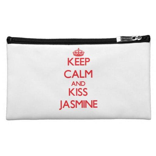 Keep Calm and Kiss Jasmine Makeup Bags