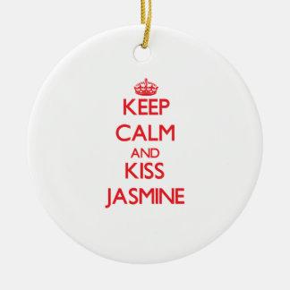 Keep Calm and kiss Jasmine Round Ceramic Decoration