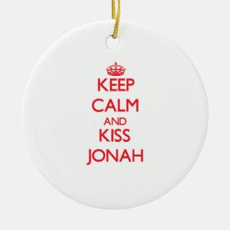 Keep Calm and Kiss Jonah Christmas Ornaments