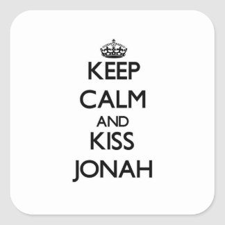 Keep Calm and Kiss Jonah Square Stickers