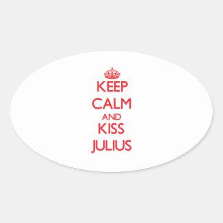Keep Calm and Kiss Julius Oval Sticker