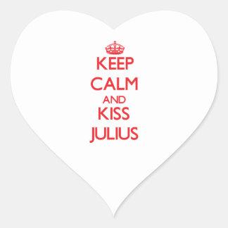 Keep Calm and Kiss Julius Heart Stickers