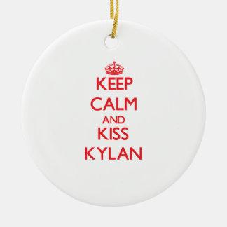 Keep Calm and Kiss Kylan Round Ceramic Decoration