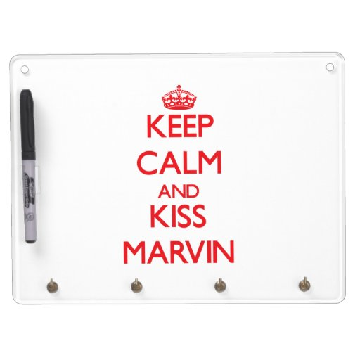 Keep Calm and Kiss Marvin Dry Erase Board With Keychain Holder