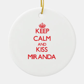 Keep Calm and kiss Miranda Double-Sided Ceramic Round Christmas Ornament