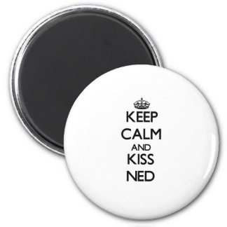 Keep Calm and Kiss Ned 6 Cm Round Magnet