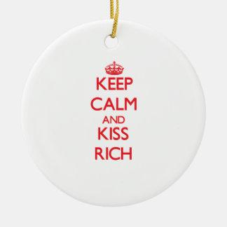 Keep Calm and Kiss Rich Ornament