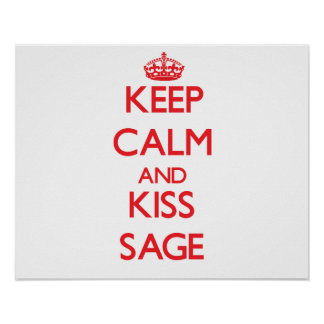 Keep Calm and Kiss Sage Print