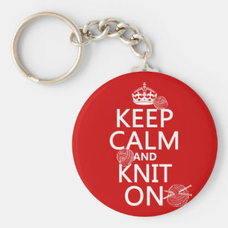 Keep Calm and Knit On - all colors Basic Round Button Key Ring