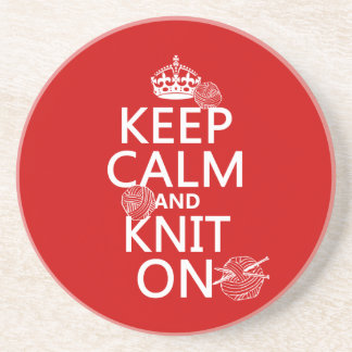 Keep Calm and Knit On - all colors Coaster