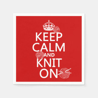 Keep Calm and Knit On - all colors Disposable Serviettes