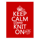Keep Calm and Knit On - all colours Postcard