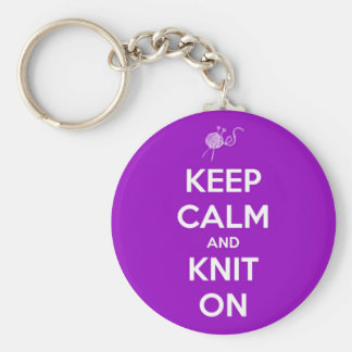 Keep Calm and Knit On Fuschia Basic Round Button Key Ring