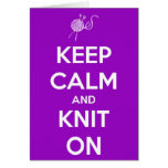 Keep Calm and Knit On Fuschia Card