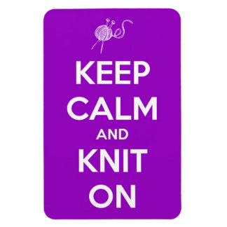 Keep Calm and Knit On Fuschia Rectangular Photo Magnet