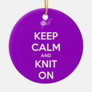 Keep Calm and Knit On Fuschia Round Ceramic Decoration