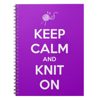 Keep Calm and Knit On Fuschia Spiral Notebook