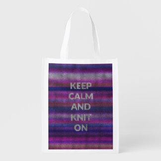 Keep Calm And Knit On Reusable Grocery Bag