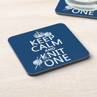 Keep Calm and Knit One - all colours Coaster
