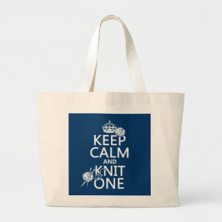Keep Calm and Knit One - all colours Jumbo Tote Bag