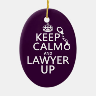 Keep Calm and Lawyer Up (any color) Ceramic Oval Decoration