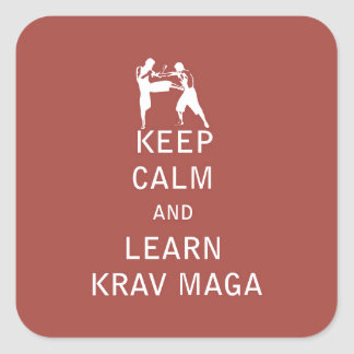 Keep Calm and Learn Krav Maga Square Sticker