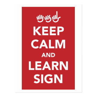 Keep calm and learn sign. postcard. postcard