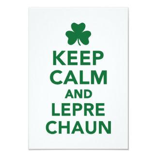 "Keep calm and Leprechaun 3.5"" X 5"" Invitation Card"