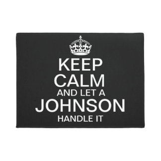 """Keep Calm and Let a """"last name"""" handle it custom Doormat"""