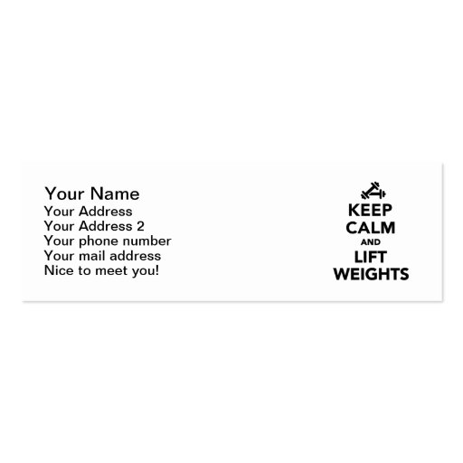 Keep calm and lift weights Bodybuilding Business Card Template