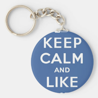 Keep Calm And Like Me Thumbs Up Carry On Basic Round Button Key Ring