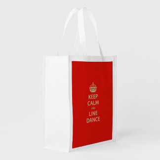 Keep Calm and Line Dance Reusable Grocery Bag