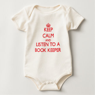 Keep Calm and Listen to a Book Keeper Baby Bodysuit