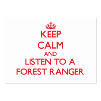 Keep Calm and Listen to a Forest Ranger Large Business Cards (Pack Of 100)
