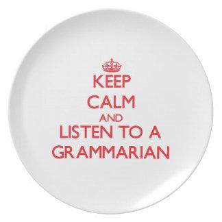 Keep Calm and Listen to a Grammarian Dinner Plates