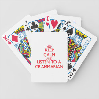 Keep Calm and Listen to a Grammarian Bicycle Poker Deck