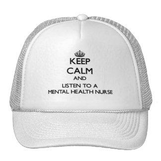 Keep Calm and Listen to a Mental Health Nurse Mesh Hat