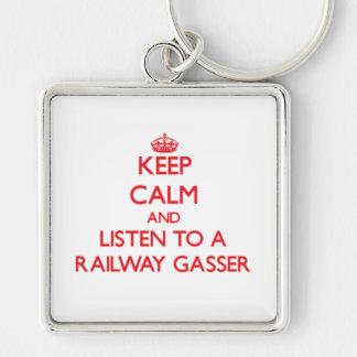 Keep Calm and Listen to a Railway Gasser Key Chains