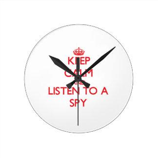 Keep Calm and Listen to a Spy Wallclocks