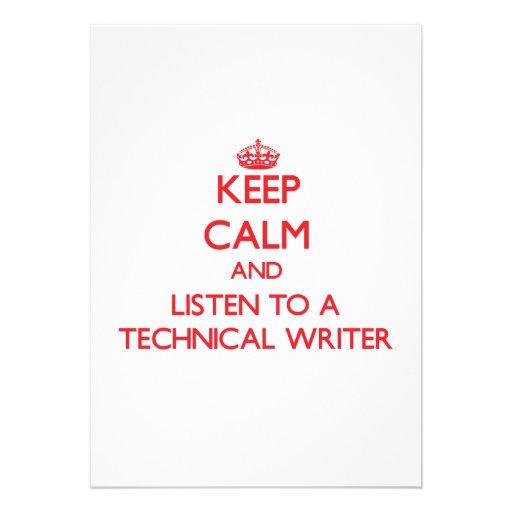 Keep Calm and Listen to a Technical Writer Custom Invitation