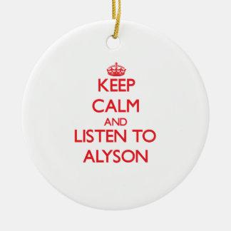 Keep Calm and listen to Alyson Round Ceramic Decoration