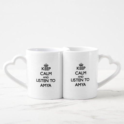Keep Calm and listen to Amya Couples Mug