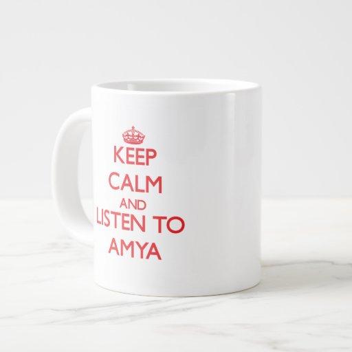 Keep Calm and listen to Amya Jumbo Mug