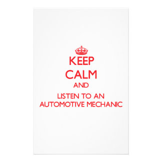 Keep Calm and Listen to an Automotive Mechanic Personalized Stationery